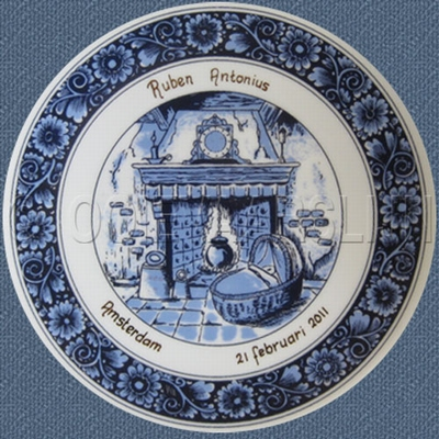 Geboortebord blauw  diam. 20,5 cm